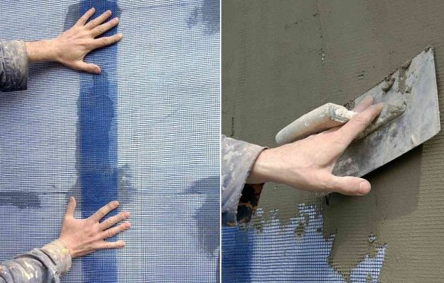 Монтаж сетки при нанесении фасадной штукатурки по пенопласту