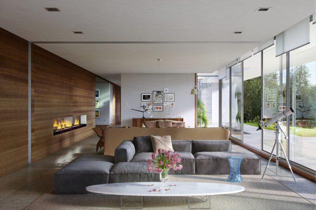 Проект дома в стиле минимализм предусматривает открытую планировку