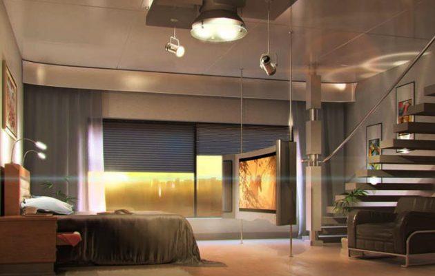 Спальня дома в стиле хай-тек