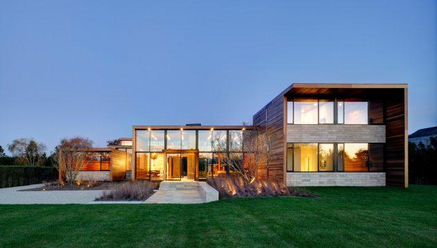 В домах в стиле минимализм обычно применяется панорамное остекление
