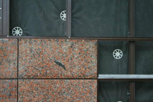 Вентилируемый фасад, материал отделки - агломератно-гранитная плитка