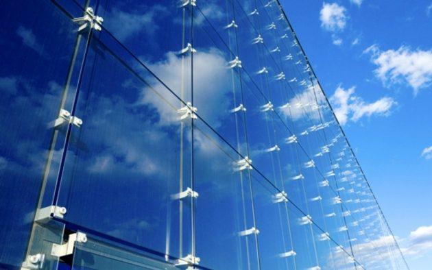 Вентилируемый фасад, материал отделки - стеклянные панели