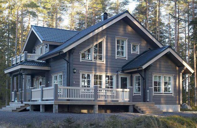 крыльцо с террасой в скандинавском стиле